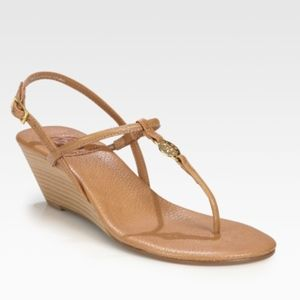 Tory Burch Emmy tan nude wedge sandal heel